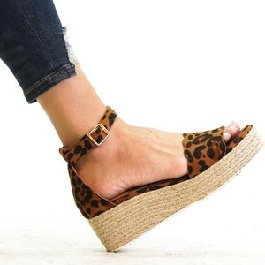 Shoes - LAST 5.5‼️LEOPARD SUEDE ESPADRILLES WEDGES- Shoe